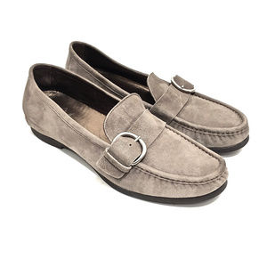 - SOLD - AGL Light Grey Suede Loafers w/ Buckle